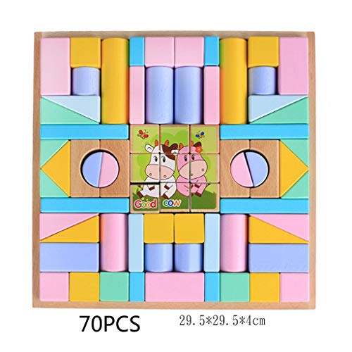 Best Bargain YONGMEI Colorful Wooden Building Blocks Set,Childrens Construction Wood Toy for Kids 3-...