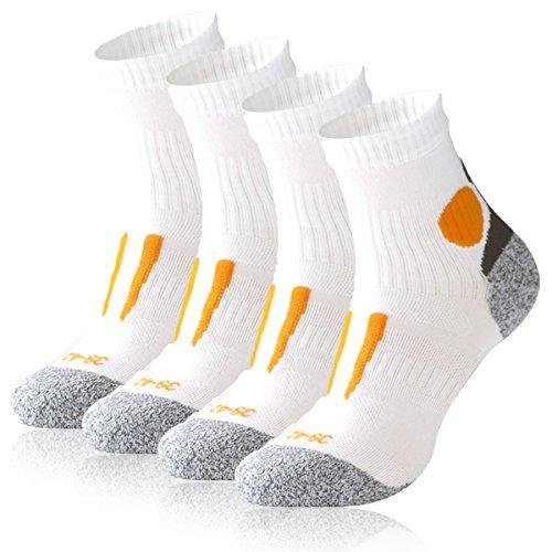 Occulto 4 Paar Running Socks für Sie und Ihn - stoßabfedernd, schützend, unterstützend und klimatisiert - Größen 35-46 wählbar (43-46, Weiß/Orange)