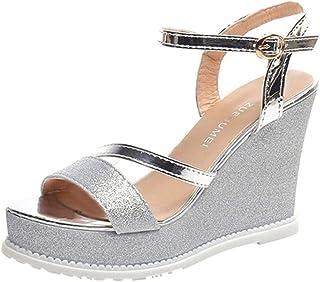 Chaussures et Sacs coloré : Noir, Taille : EU 43 ZHRUI Sandales à Talons compensés Peep Toe Strappy Sandales