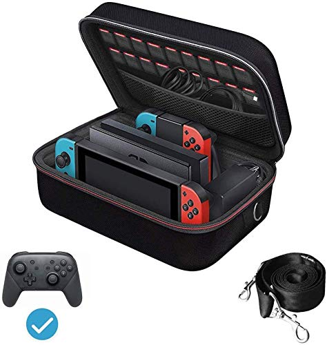 Custodia di Trasporto per Nintendo Switch, iVoler Case da Viaggio Rigido Deluxe per Console Switch, Dock Switch, Caricabatteria Originale, Joy-Con Grip, 18 Cartucce di gioco e altri Accessori