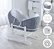 White Waffle Grey Wicker Noah Pod Moses Basket with Deluxe White Rocking Stand, Donut Nursing Pillow...