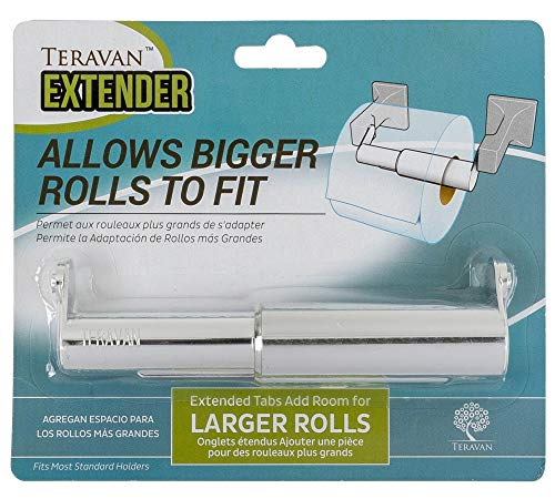 STOCK UP – Teravan Standard Extender for Larger Toilet Paper Rolls (Silver).