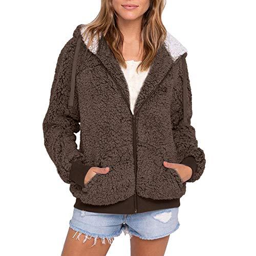 Amphia Damen Zip Hoodies Sweatshirt Coat Winterjacke,Frauen Plus Größe beiläufige Tasche mit Kapuze Parka Outwear Strickjacke Mantel
