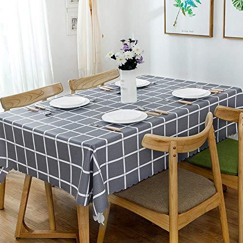 Kuingbhn Manteles Mesa Antimanchas Impermeable PVC Simple Nórdico Moderno para Cocina Comedor Gris 140 × 140cm