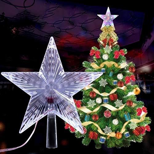 Geagodelia Puntale per Albero di Natale Illuminazione Luce Forma di Stella Multicolori per Interni e Esterni Luci Decorative Natalizie con Interruttori (Multicolori, Stella)