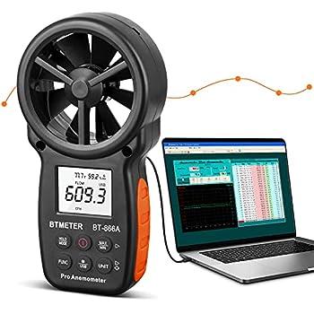 BTMETER BT-866A Pro Handheld HVAC Anemometer for CFM Air Flow Wind Speed Meter Gauge Measures Wind Velocity Temp %RH Dew Point with USB Sync to PC