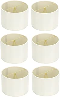 Upgradelights 5 Inch Retro Barrel Drum Clip on Chandelier Lampshade (Set of 6) (Eggshell) 5.5x5.5x4