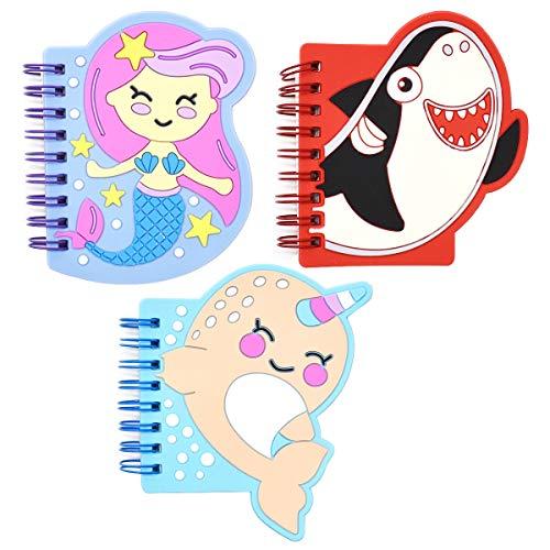Qixuer 3 Pezzi Nuovo Animale Portatile Bloc-Notes,Mini Taccuino Notebook Taccuino a Fogli Mobili Bloc-notes Cartoon Pattern Piccolo Taccuino con Una Piccola Fresh Bobina per Studenti Regalo