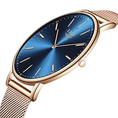 LIGE Ultra Dunne heren Horloges Unisex Waterdicht Sport Roestvrij stalen gaas Polshorloge Heren mode Eenvoudige analoge Kwarts horloges
