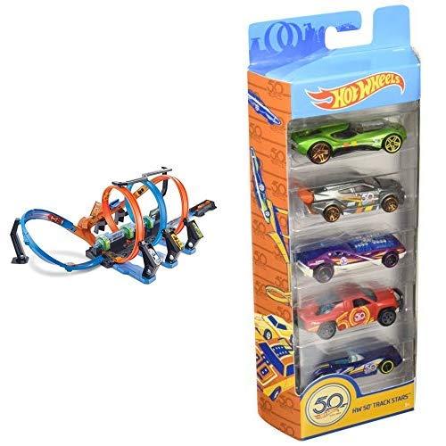 Hot Wheels FTB65 - Action Korkenzieher Crash Trackset, Auto Rennbahn mit 3 Loopings und Beschleuniger & Wheels 01806 5er Pack 1:64 Die-Cast Fahrzeuge Geschenkset