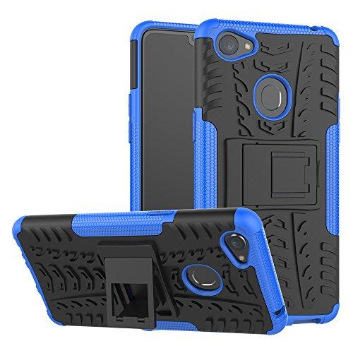TiHen Handyhülle für Oppo F7 Hülle, 360 Grad Ganzkörper Schutzhülle + Panzerglas Schutzfolie 2 Stück Stoßfest zhülle Handys Tasche Bumper Hülle Cover Skin mit Ständer -Blau