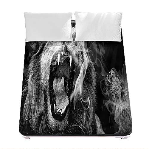 Sábana Bajera Ajustable Colchones Decorativa 3D Pradera Animal León Impresión, Chickwin Suave Transpirable Microfibra Tela- Elástico en el Borde Bolsillo Profundo 30cm (León 2,90x200x30cm)