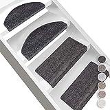 Floordirekt Velours-Stufenmatten Sundae | Halbrund oder Eckig | Treppenmatten in 6 Farben | Strapazierfähig & pflegeleicht | Stufenteppich für Innen (Anthrazit, Eckig 65 x 23,5 cm)