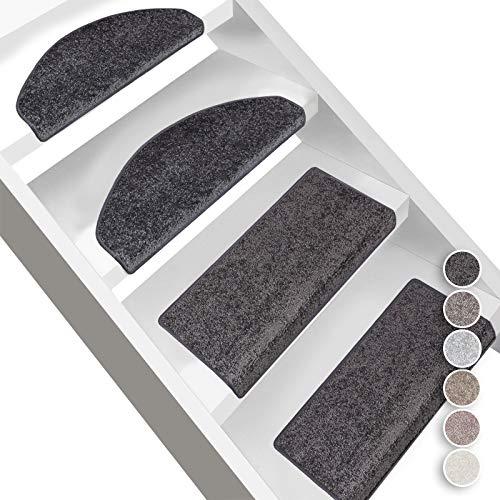 Floordirekt Velours-Stufenmatten Sundae | Halbrund oder Eckig | Treppenmatten in 6 Farben | Strapazierfähig & pflegeleicht | Stufenteppich für Innen (Anthrazit, Halbrund 56 x 19 cm)