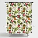 MitoVilla Duschvorhang mit tropischen Früchten & Ananas, als Badezimmerdekoration, Retro-Hibiskusblumen Badezimmer-Zubehör, Ananas-Geschenke für Frauen Mädchen, bunt, 182,9 cm B x L