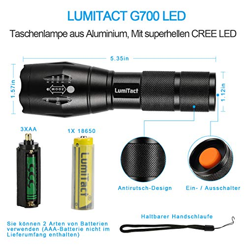 Lumitact G700 LED Taschenlampe, Extrem Hell 3000 Lumen CREE Wiederaufladbare Taktische Taschenlampen, Aufladbar Fackel für Camping Wandern und Notfälle (Inklusive 1 x 18650 Batteries) - 3