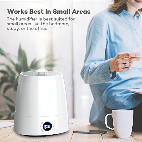 TaoTronics TT-AH007 Warm & Cool Mist Ultrasonic Air Humidifiers for Home Bedroom Office with Filter, LED Display, 360°Rotatable Nozzle-(5.5L/1.45 Gallon, US 110V)