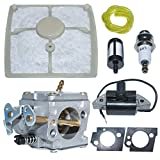 AUMEL Carburateur Ignition Coil Air Fuel Filter Line Gasket Kit for Stihl 041 Farm Boss 041 Chainsaw 1110 120 0609,1115 404 3200