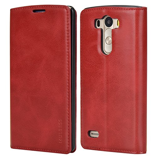 Mulbess Handyhülle für LG G3 Hülle Leder, LG G3 Handytasche, Slim Flip Schutzhülle für LG G3 Hülle, Wein Rot