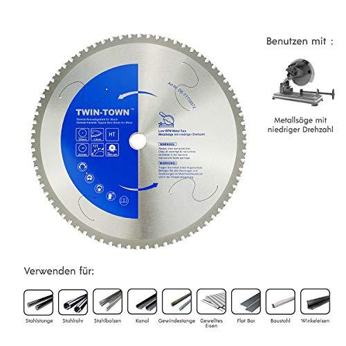 TWIN-TOWN Cermet Kreissägeblatt für Stahl und Eisenmetall, Ideal für Baustaul zum Sägen mit Metallkreissäge (355x25.4mm Z72)