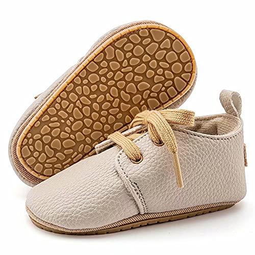 MrToNo Zapatillas para bebé de piel, para aprender a andar, de 6 a 12 meses, antideslizantes, para niños y niñas, tallas 17 a 24, color Beige, talla 6-12 meses