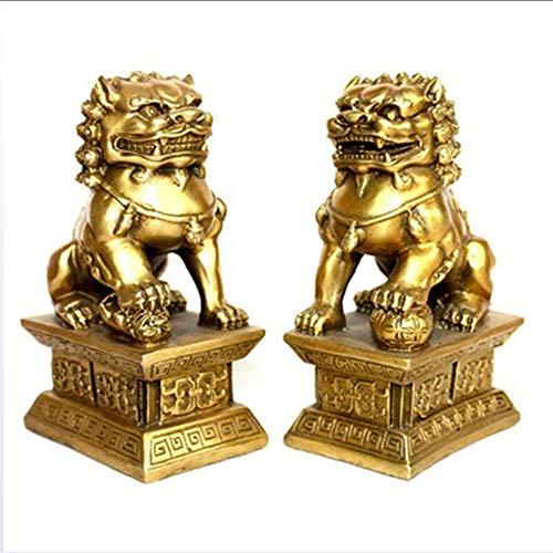 LIBWX Feng Shui Conjunto de Dos Perros Foo de Resina marrón Estatuillas de Leones Guardianes Chinos, el hogar y la Oficina atraen Riqueza y Buena Suerte felicitación de inauguración de la casa