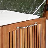 Deuba Auflagenbox | Akazien Hartholz | Innenplane | Griff | Räder | 117cm | Holztruhe Kissenbox Truhe Gartenbox Gartentruhe - 2