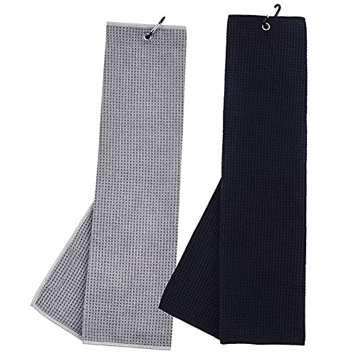 Golf Towel, 2 Pack Golf Towels for Golf Bags with Clip, Microfiber Waffle Pattern Tri-Fold Golf Towel, Heavy Duty...
