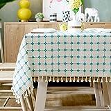 Mantel moderno simple de entramado de algodón y lino con borlas nórdicas a prueba de polvo para mesa de cocina, comedor, decoración de mesa (color A, tamaño: 130 x 130 cm)