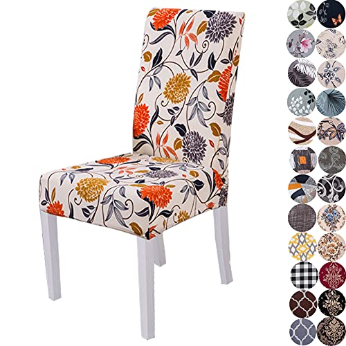 Lalluxy Stretchy Parson Chair Slipcovers for Dining Room Chair seat Covers Chair Protectors for Party Pet Protection Universal Fit Soft Polyester (Set of 6, Orange Flowers)
