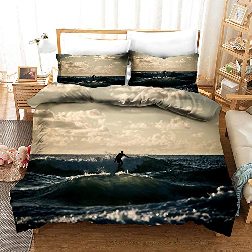 ECHODMFS Duvets Covers Pillowcase Grey ocean Bedding 3-Pieces King 220x240cm Bedding Comfortable Breathable Duvet Cover Set Fashion Home Bed Linings