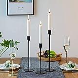 Wuudi Candelieri Set 3 portacandele in metallo vintage candeliere decorazione tavolo nero 24/28/33cm