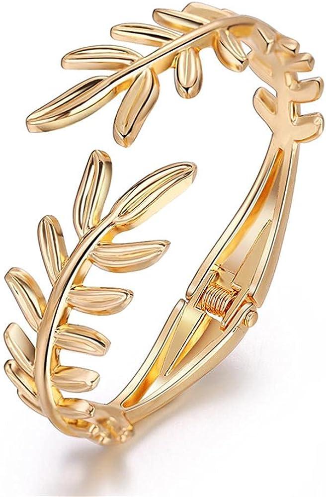 NC Chunky Polished-Finish Wrist Cuff Bangles Bracelets Yellow Gold-Tone Wide Metal Buckle Statement Cuff Bangle Bracelet Leaf Snake Open Wide Cuff Bangle Bracelet Wrap Bracelet for Women Girl