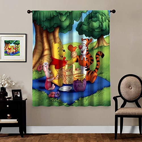 Victoria Anime Blackout Curtains,Piglet Tigger Winnie The Pooh, Rod Pocket Thermal Insulated Darkening Window Drapes for Bedroom, Cute Animal Boys Girls Room Décor, 2 Panels,63x63 inch