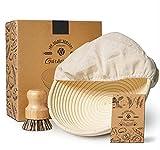 KYONANO Cestino rotondo per fermentazione, diametro 25 cm, cestino per fermentazione in canna naturale con inserto in lino e spazzola per la pulizia, cestino per il pane e l'impasto (set da 3)