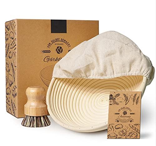 KYONANO Gärkorb Set rund Ø 25cm, Gärkörbchen aus natürlichem Peddigrohr mit Leineneinsatz & Reinigungsbürste, Brotkorb Banneton Proof Korb für Brot und Teig (3er/Set)
