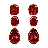 EVER FAITH Rhinestone Cristal Fiesta Moda Nupcial Lágrima Aureola Pendientes Colgantes Halo Rojo Tono Dorado