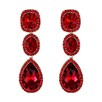 EVER FAITH Women s Crystal Gorgeous Party Square Oval Teardrop Dangle Earrings Red Gold-Tone