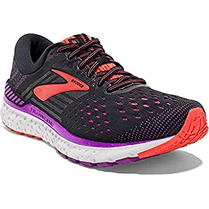 Brooks Womens Transcend 6 Running Shoe - Black/Purple/Coral - B - 9.5