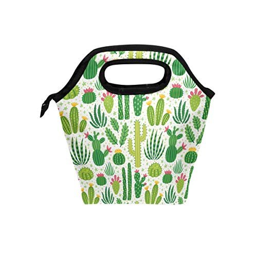Naanle Cactus Insulated Zipper Lunch Bag Cooler Tote Bag for Adult Teen Men Women, Cactus Lunch Boxes Lunchboxes Meal Prep Handbag