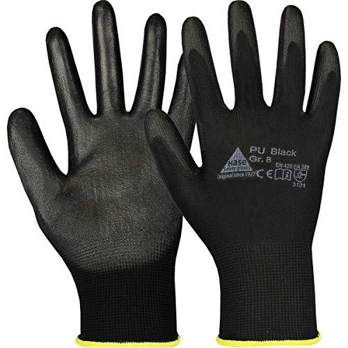 10 Paar Hase Safety Gloves PU-Nylonhandschuhe schwarz, ölbeständige Arbeitshandschuhe Größe XL (10)