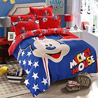 Bedding Sets|Mickey Mouse Minnie Children Bedding Set Queen Full Single Size Cover Flatsheet Pillowcase Bedlinen Set for Kids|by ATUSY|