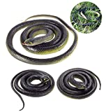 3 Pieces Large Realistic Rubber Snakes, Halloween Scary Toy Fake Black Mamba Snake for Garden Props to Scare Birds, Pranks, Halloween Party Decoration (2 Sizes, 47 Inch, 31.5 Inch)