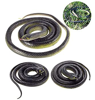 CICINUJOY 3 Pieces Large Realistic Rubber Snakes Halloween Scary Toy Fake Black Mamba Snake for Garden Props to Scare Birds Pranks Halloween Party Decoration  2 Sizes 47 Inch 31.5 Inch …