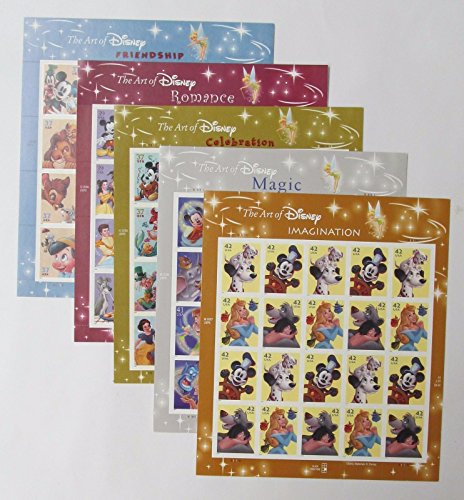 The Art of Disney Set of 5 Sheets, Celebration, Friendship, Imagination, Magic, Romance Collectible Postage Stamps