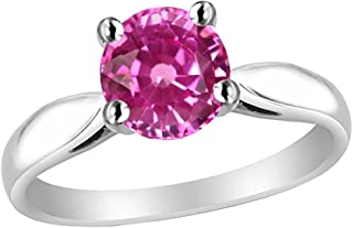 lab created pink sapphire ring