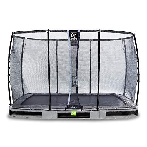 EXIT Elegant Premium Inground-Trampolin 244x427cm mit Deluxe Sicherheitsnetz - grau