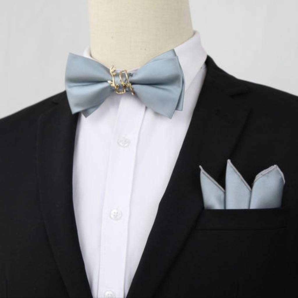 CDQYA Pure Color Bow Tie Pocket Square Wedding Groom Wedding Best Man Trendy Men's Western Accessories Suit Bow Decoration (Color : C)