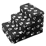 organiser Pet Stairs Dogs Steps 3 Steps Plush & Velvet Suede Pet Stairs Ladder Pet Climbing for Cat Dog Removable Washable (Black)
