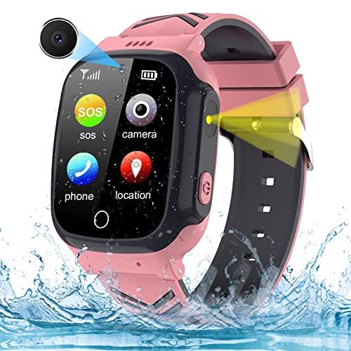 AOYMJRS Smartwatch Kinder Telefon Smart Watch Kinder Handy Uhr mit LBS Tracker Wasserdicht Touchscreen Anruf Voice Chat SOS Kamera Wecker, Geschenk für Kids Junge Mädchen Student (Kein GPS)
